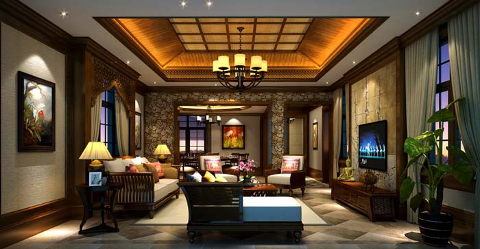 萧山新中式豪宅客厅电视背景墙装修设计案例效果图