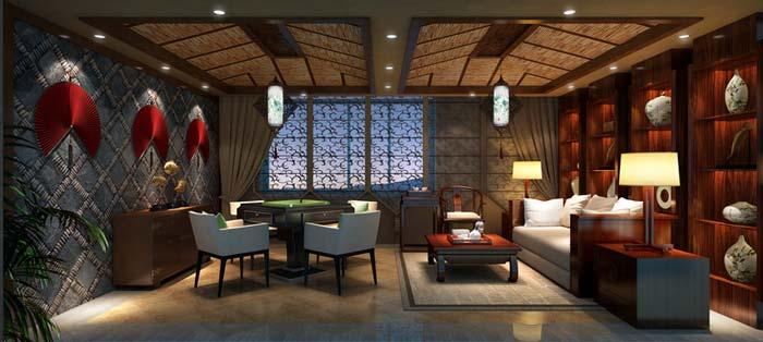 萧山新中式豪宅休闲室装修设计案例效果图