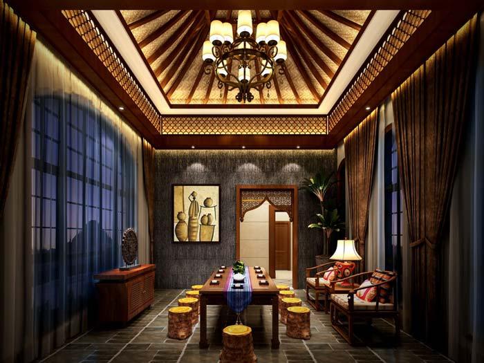 萧山新中式豪宅餐厅装修设计案例效果图