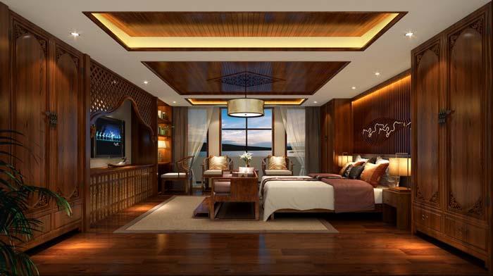 萧山新中式豪宅卧室装修设计案例效果图