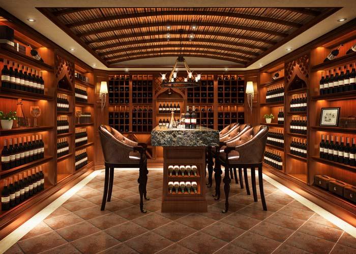 萧山新中式豪宅红酒区域装修设计案例效果图