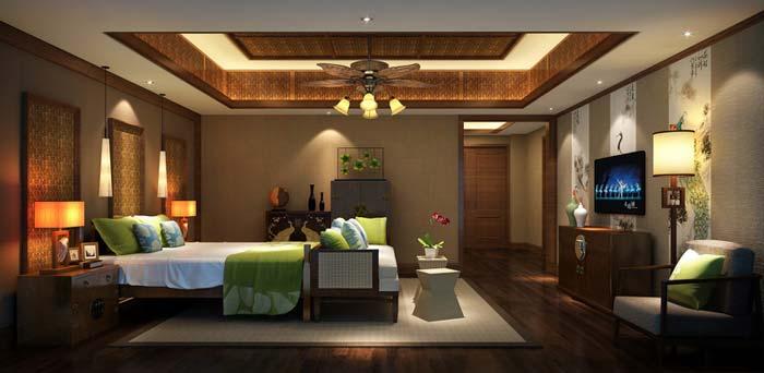 萧山新中式豪宅时尚简约卧室装修设计案例效果图