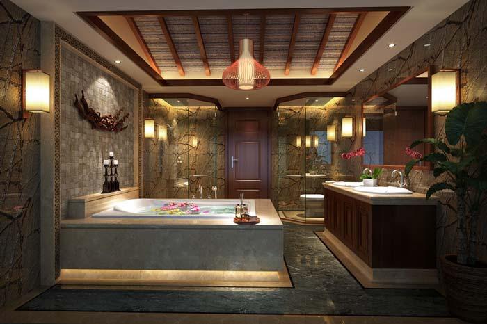 萧山新中式豪宅浴室装修设计案例效果图
