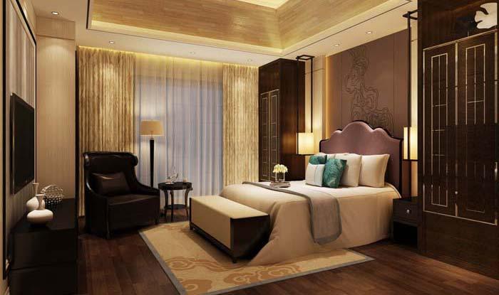 水印城现代新古典别墅长辈卧室装修设计案例效果图