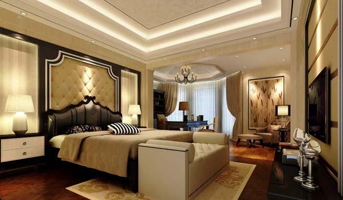 水印城现代新古典别墅卧室装修设计案例效果图