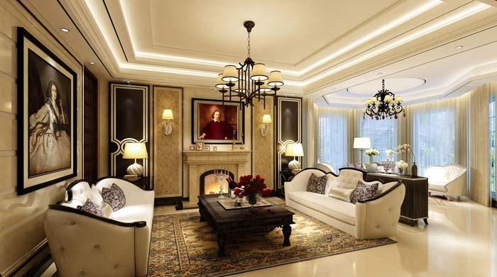 水印城现代新古典别墅客厅装修设计案例效果图