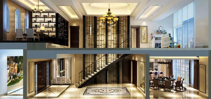 水印城现代新古典别墅装修设计案例效果图