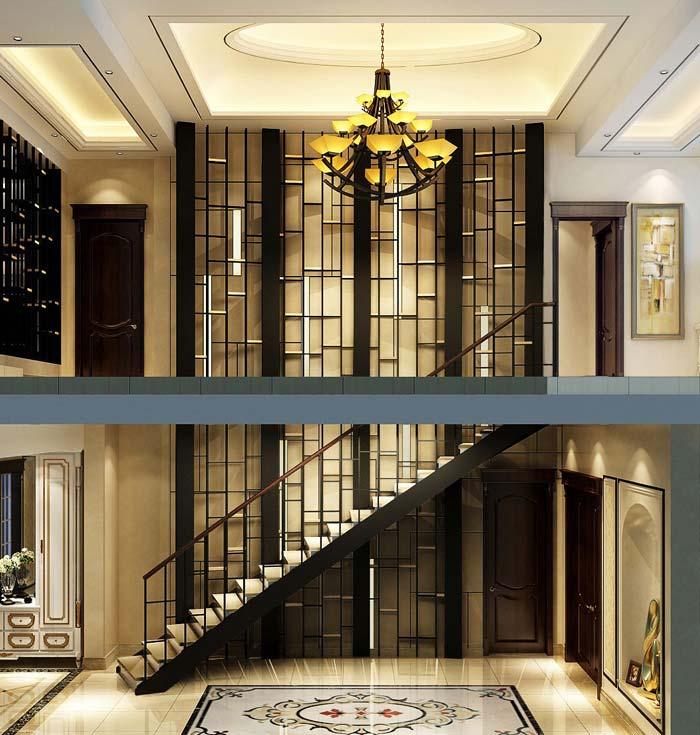 水印城现代新古典别墅楼梯区域装修设计案例效果图