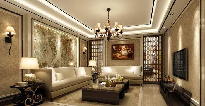 水印城现代新古典别墅起居室装修设计案例效果图