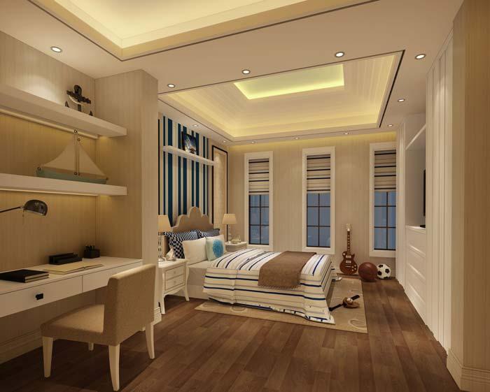 水印城现代新古典别墅男孩房装修设计案例效果图