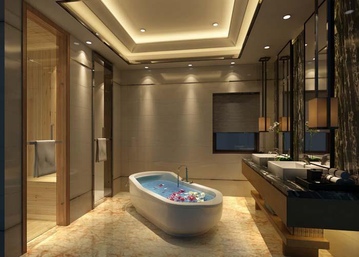 水印城现代新古典别墅浴室装修设计案例效果图