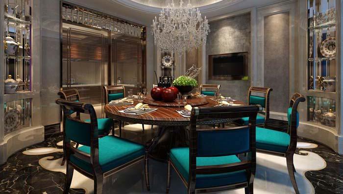新古典别墅餐厅装修设计案例效果图