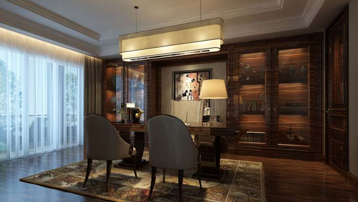 新古典别墅书房装修设计案例效果图