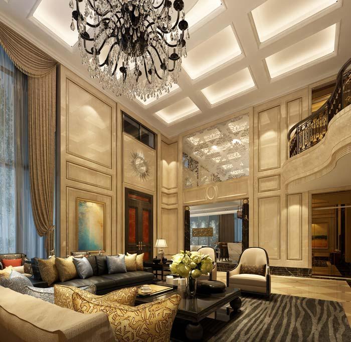 新古典别墅大厅装修设计案例效果图