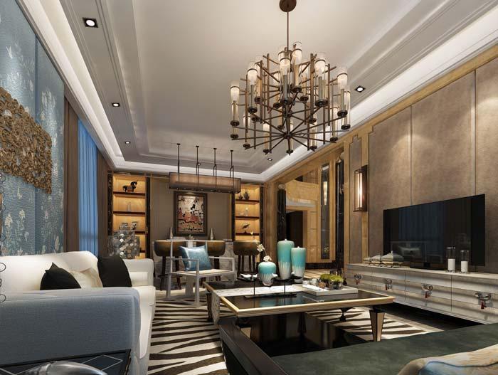 新古典别墅客厅装修设计案例效果图