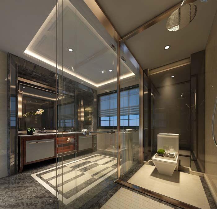 新古典别墅洗手间装修设计案例效果图