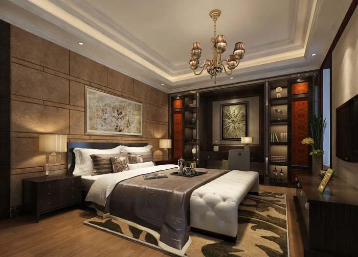 新古典别墅卧室软装装修设计案例效果图