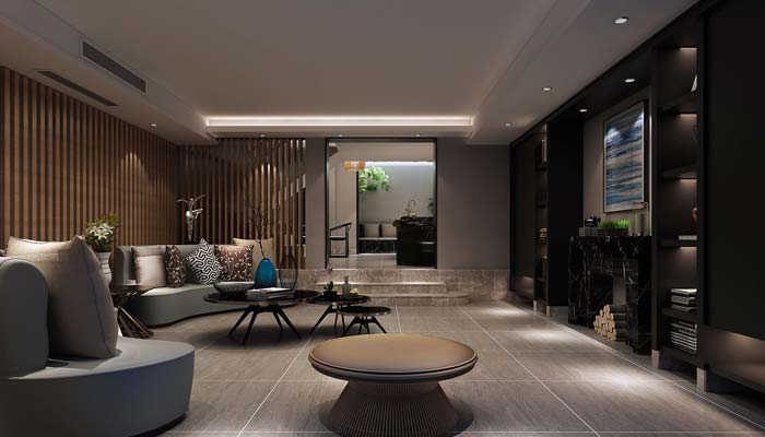 现代简约风格别墅品茶室装修设计案例效果图