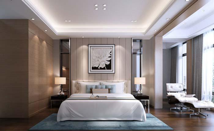 现代简约风格别墅卧室装修设计案例效果图