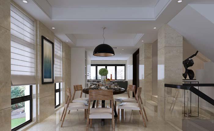 现代简约风格别墅餐厅装修设计案例效果图