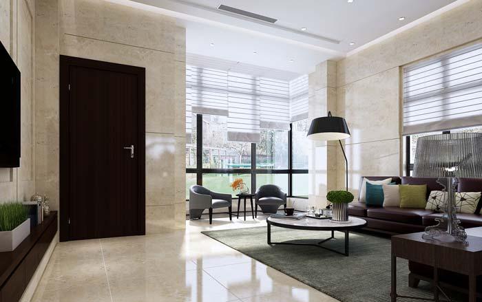 现代简约风格别墅客厅装修设计案例效果图