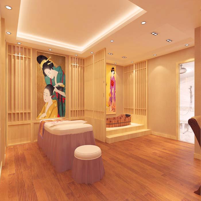 混搭风格美容院日式的spa间装修设计案例效果图