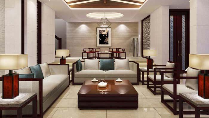 一世情园新中式别墅客厅装修设计案例效果图