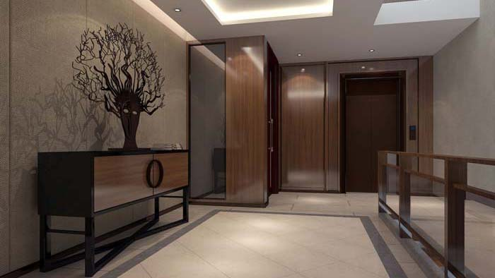 一世情园新中式别墅玄关装修设计案例效果图