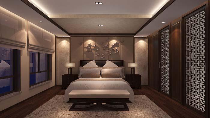一世情园新中式别墅卧室装修设计案例效果图