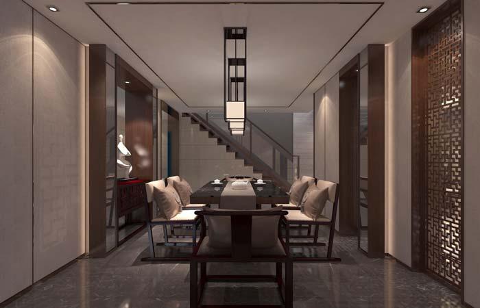 一世情园新中式别墅楼梯装修设计案例效果图