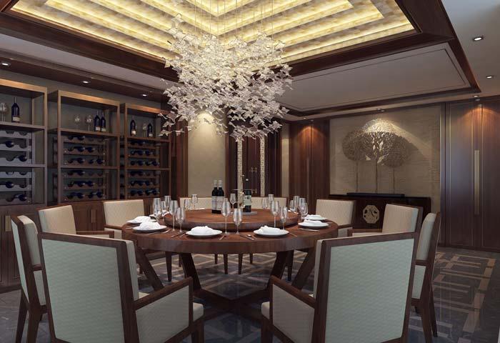 一世情园新中式别墅餐厅装修设计案例效果图