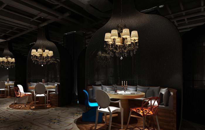 工业绿植主题餐厅吊顶装修设计案例效果图