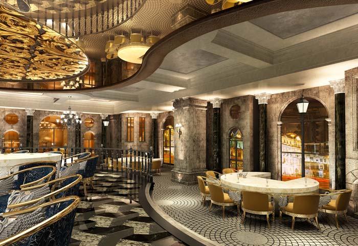 巴罗洛风格餐厅大堂装修设计案例效果图