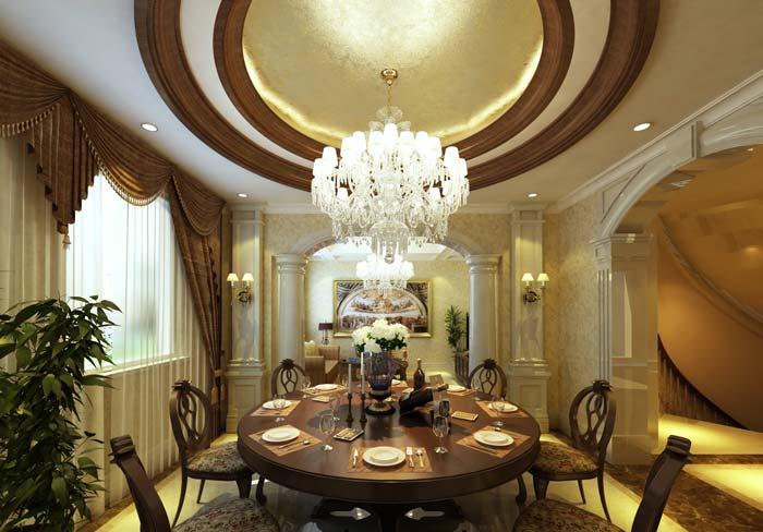 巴罗洛风格餐厅包厢装修设计案例效果图