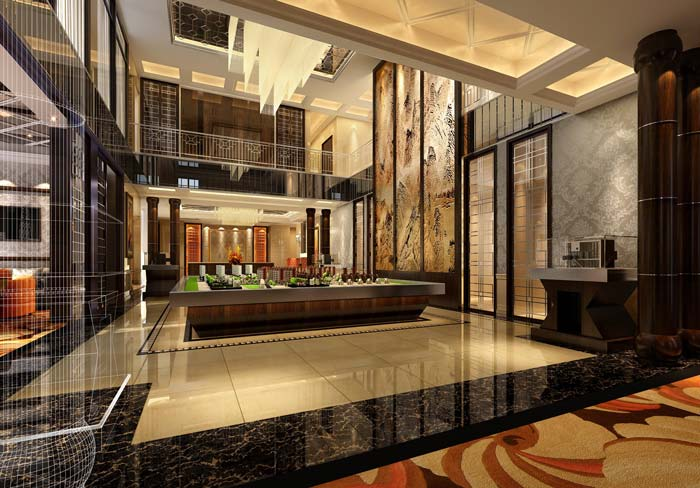 巴罗洛风格餐厅大厅装修设计案例效果图