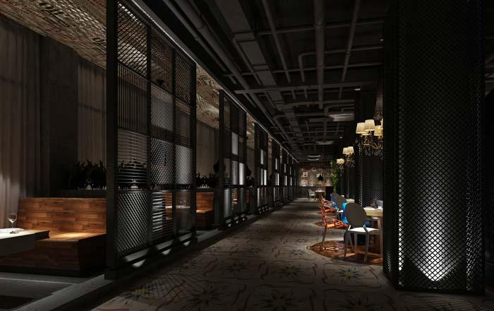 工业绿植主题餐厅大厅走廊装修设计案例效果图