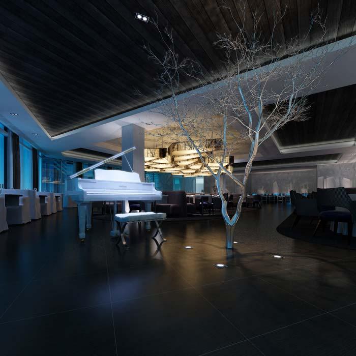 休闲类型主题餐厅酒吧钢琴区域装修设计案例效果图