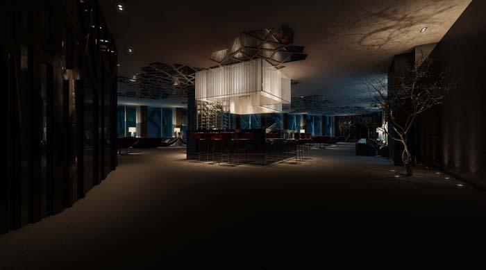 休闲类型主题餐厅酒吧吊顶装修设计案例效果图