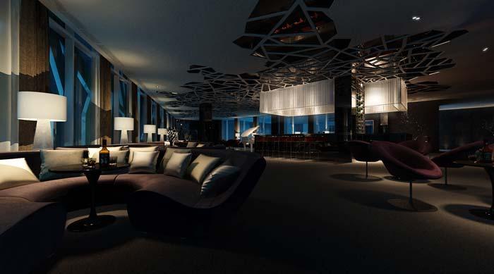 休闲类型主题餐厅沙发区域吊顶装修设计案例效果图
