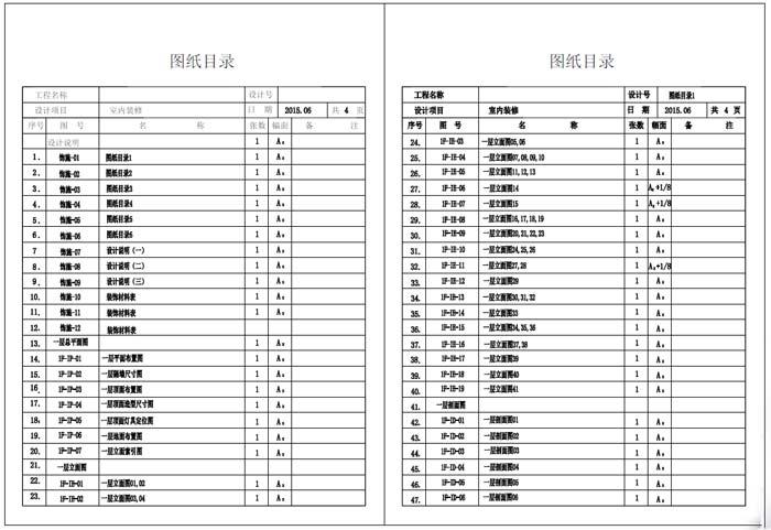 杭州精品酒店室内装饰工程深化设计施工图图纸目录1