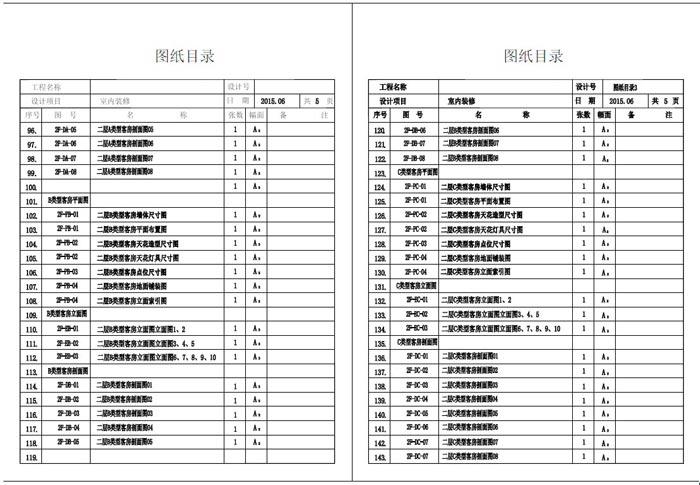 杭州精品酒店室内装饰工程深化设计施工图图纸目录3