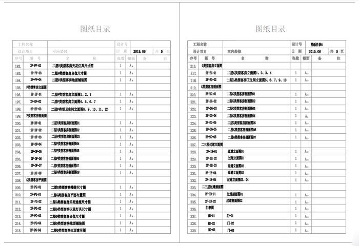 杭州精品酒店室内装饰工程深化设计施工图图纸目录5