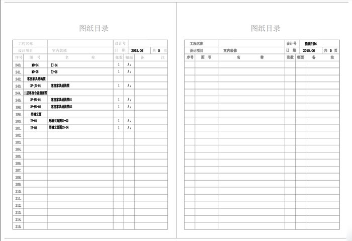 杭州精品酒店室内装饰工程深化设计施工图图纸目录6