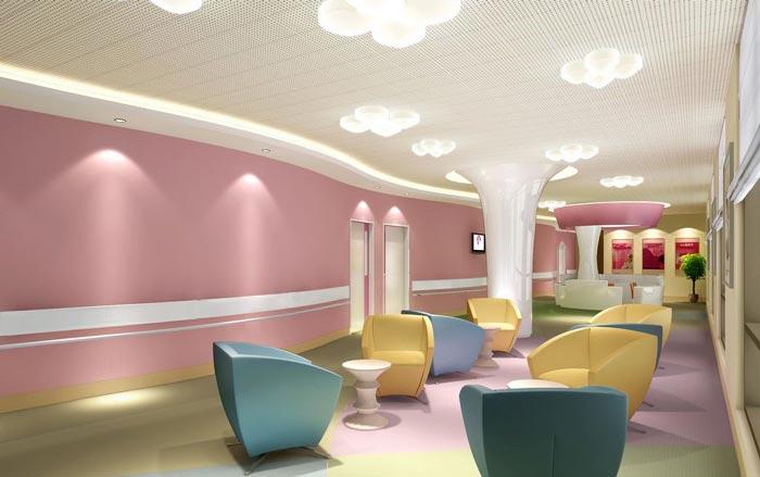 妇女儿童医院护士站休息区域装修设计案例效果图
