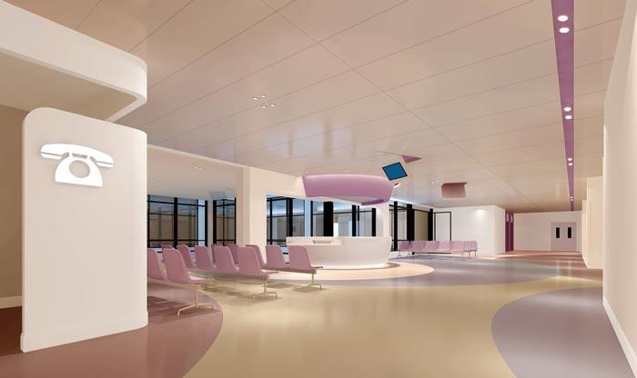 妇女儿童医院二楼大厅装修设计案例效果图