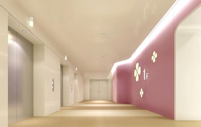妇女儿童医院电梯区域装修设计案例效果图