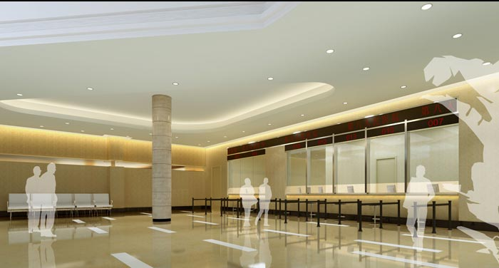 人民医院室内挂号厅装修设计案例效果图