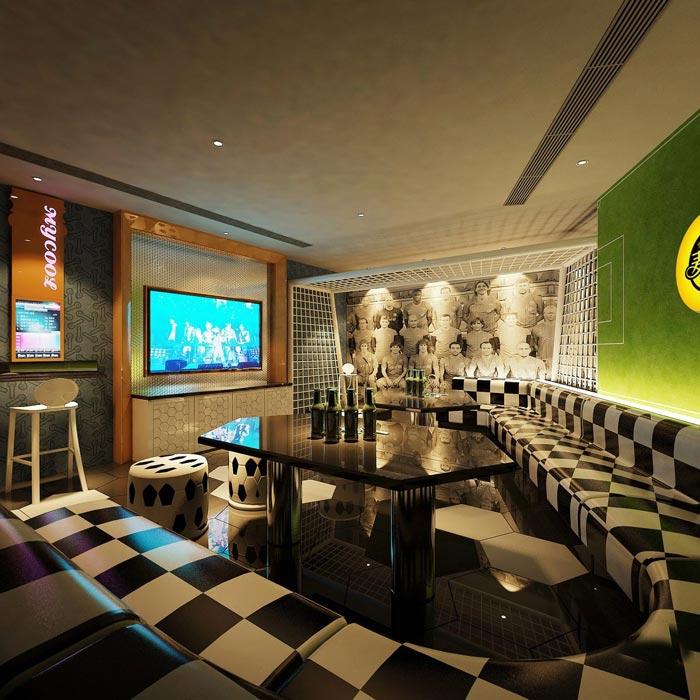 ktv主题墙设计上设计师以简洁明快为主,墙面是人们视线经常经过
