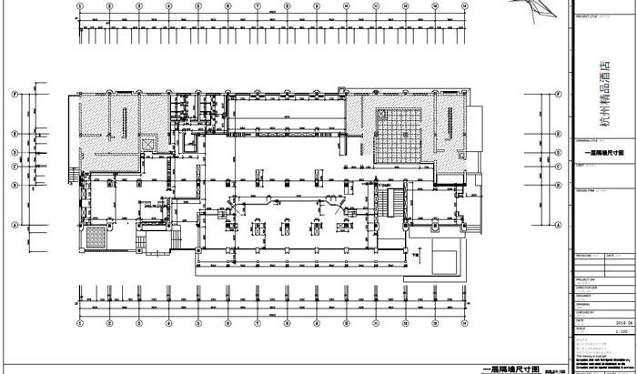 精品酒店室内装饰工程深化设计一层隔墙尺寸图