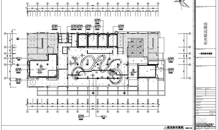 精品酒店室内装饰工程深化设计一层顶面布置图